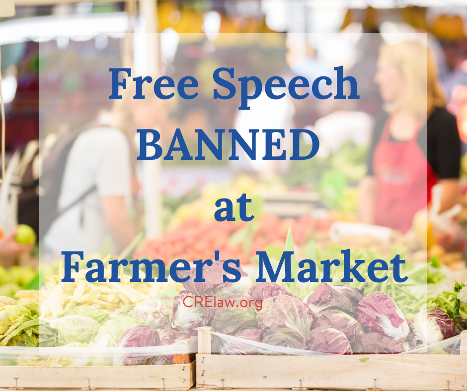 The El Paso Artists and Farmer's Market director says that the street is not open to free speech, particularly, Christian speech, during the Market. CRE fights back. www.crelaw.org